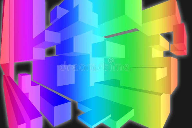papier peint de boîtes colorées de l'arc-en-ciel 3D - fond dimensionnel illustration de vecteur