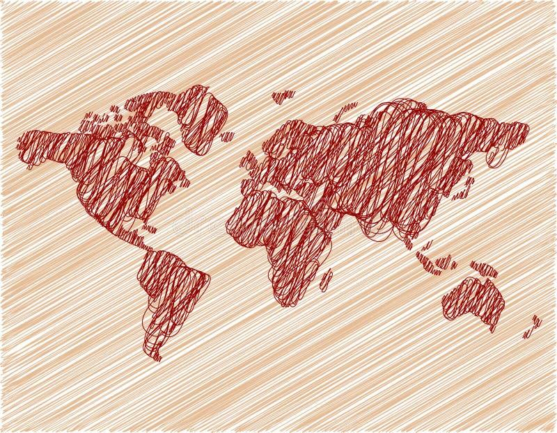 Papier peint de Brown avec la carte du monde photographie stock libre de droits