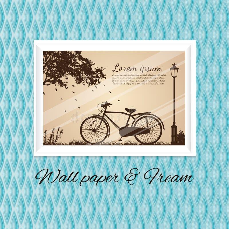 Papier peint de ciel bleu et dans le cadre antique de blanc de photo de bicyclette illustration stock