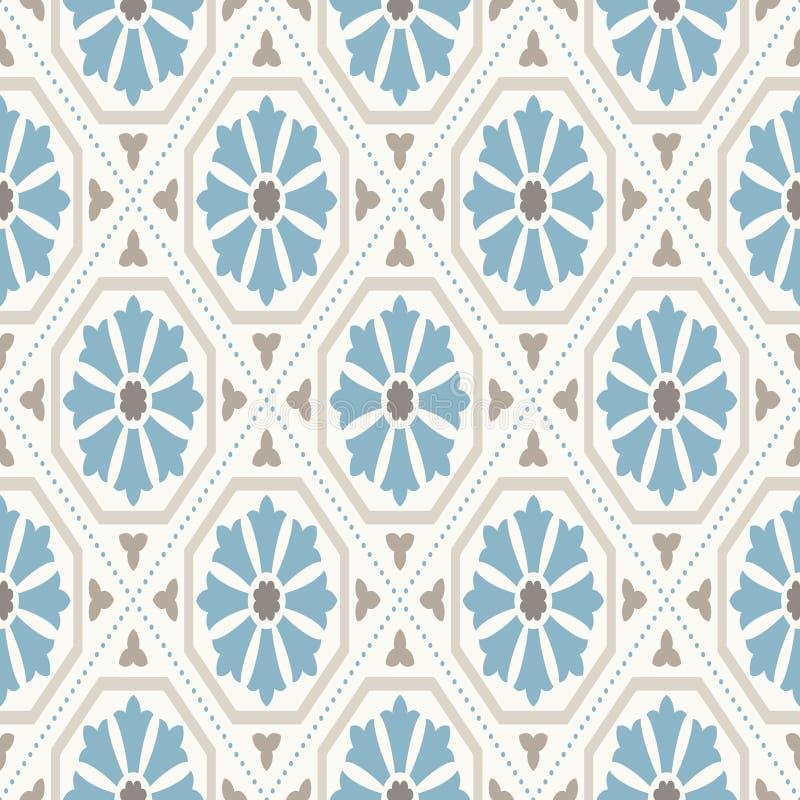 Papier peint de cru Modèle géométrique moderne, inspiré par de vieux papiers peints Rétros couleurs gentilles - bleu beige et cal illustration libre de droits