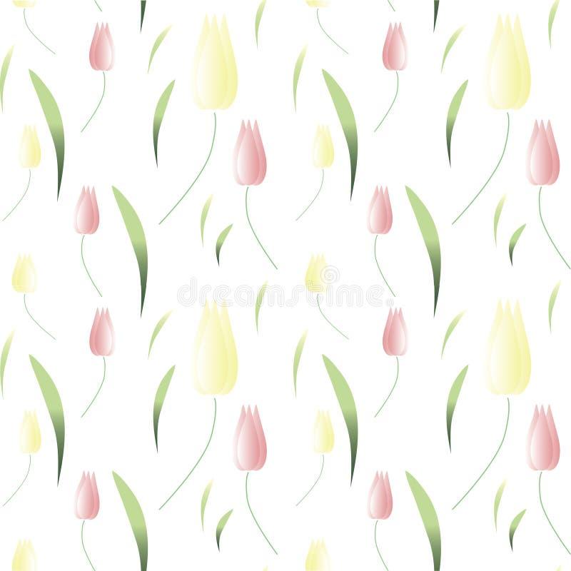 Papier peint de fond avec des tulipes de ressort Illustration de vecteur images libres de droits
