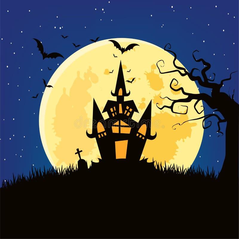 Papier peint de lune de château de Halloween image stock