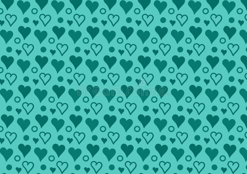 Papier peint de modèle de coeurs et de cercles de turquoise illustration de vecteur