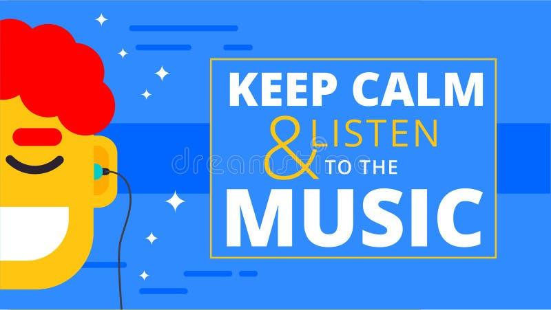 Papier peint de motivation de musique dans la conception plate Écoute heureuse d'homme illustration stock
