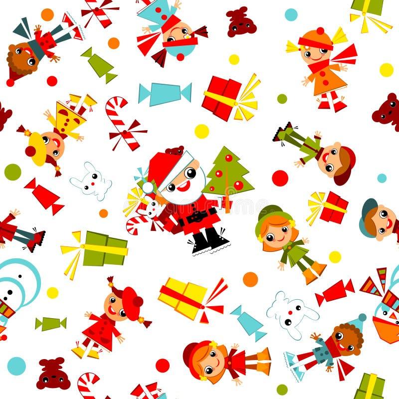 Papier peint de Noël de gosses. illustration de vecteur