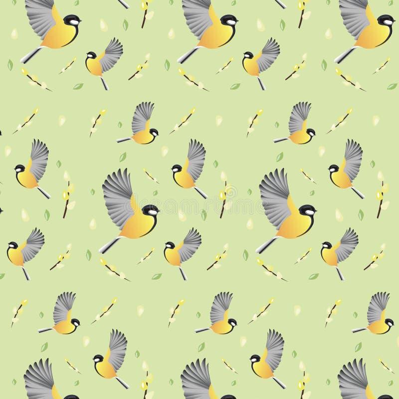 Papier peint de ressort avec des oiseaux Fond images stock