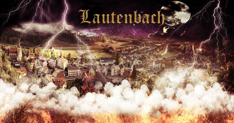 Papier peint du feu de Lautenbach Allemagne images libres de droits