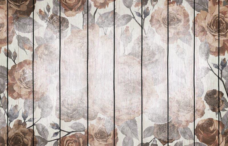 Papier peint en bois peint de fond avec la conception florale illustration de vecteur
