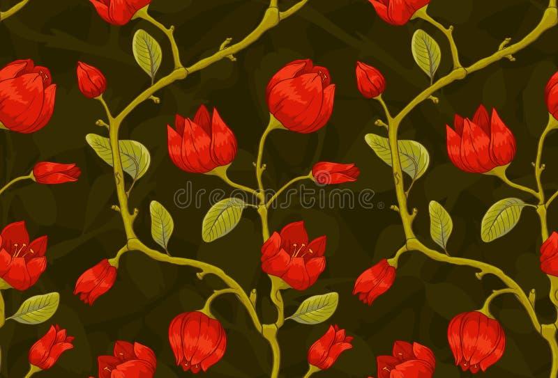 Papier peint floral avec les tulipes rouges illustration libre de droits