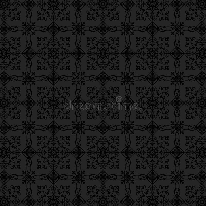 Papier peint floral de charbon de bois de luxe illustration de vecteur