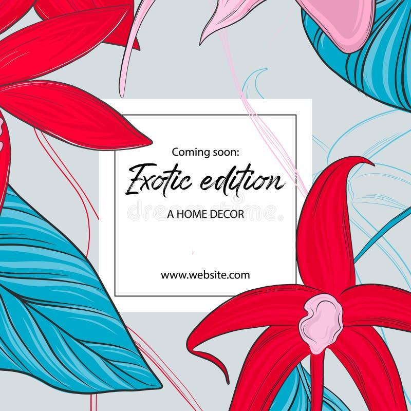 Papier peint floral de jardin Orchidées roses rouges de contraste d'été avec les feuilles bleues Invitation de mariage de ressort illustration stock