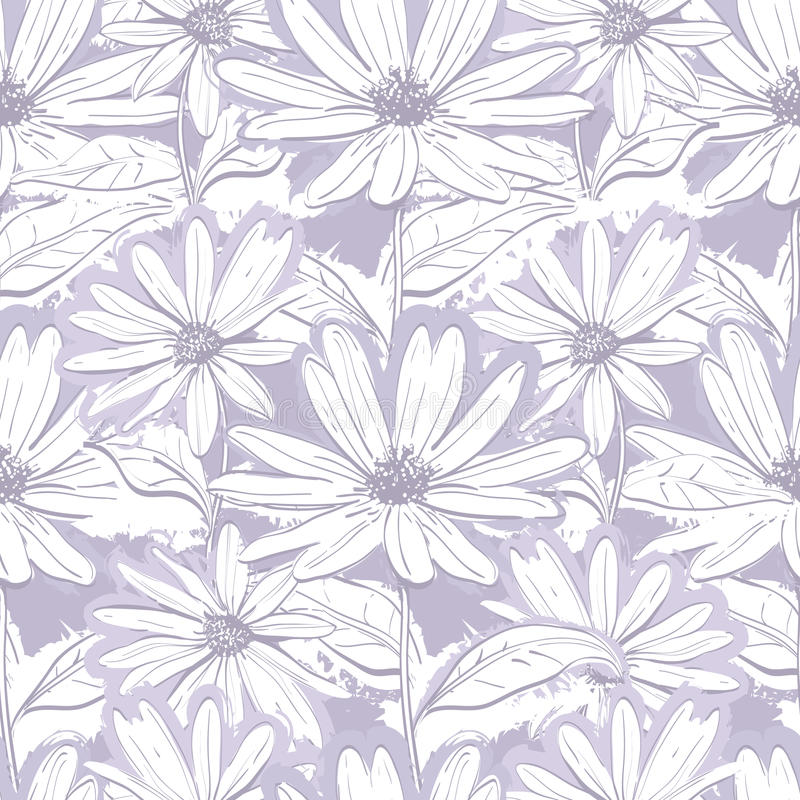Papier peint floral gris lilas monochrome, camomilles sans couture de modèle, marguerites tirées par la main illustration libre de droits