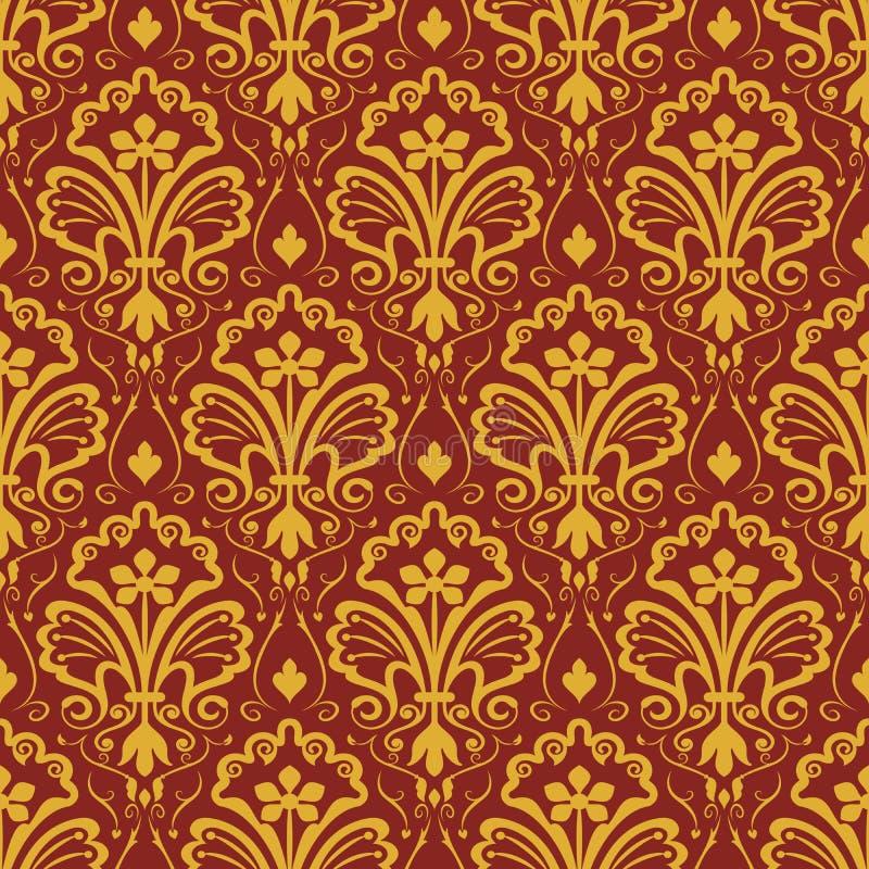 Papier peint floral jaune et rouge foncé sans couture illustration de vecteur
