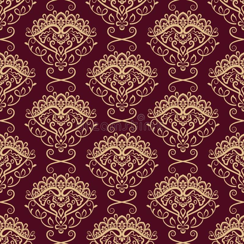 Papier peint floral jaune et rouge foncé sans couture illustration libre de droits