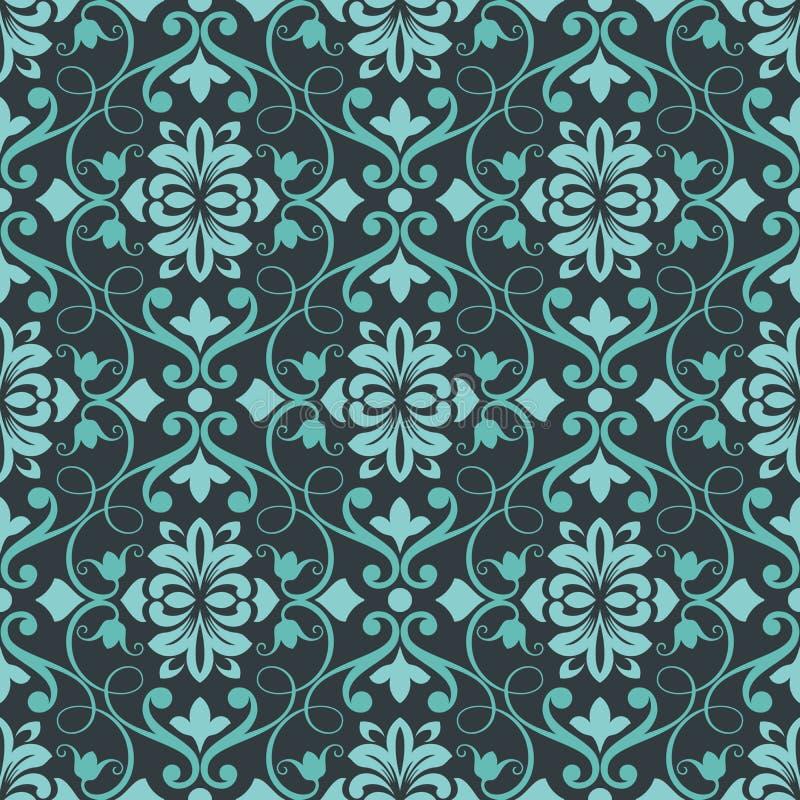 Papier peint floral sans couture de sarcelle d'hiver foncée illustration libre de droits