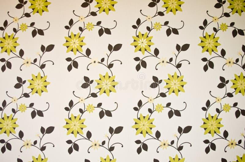 Papier peint floral vert et brun photographie stock