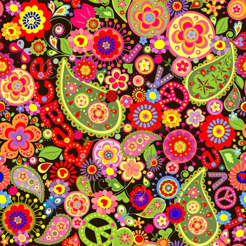 Papier peint hippie avec la copie colorée de fleur illustration libre de droits