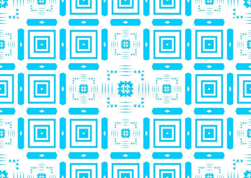 Papier peint islamique arabe chinois ornemental oriental géométrique floral abstrait bleu sans couture de fond de texture de modè illustration libre de droits
