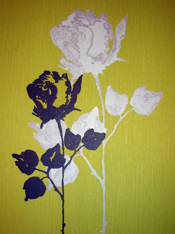 Papier peint jaune avec des roses images stock