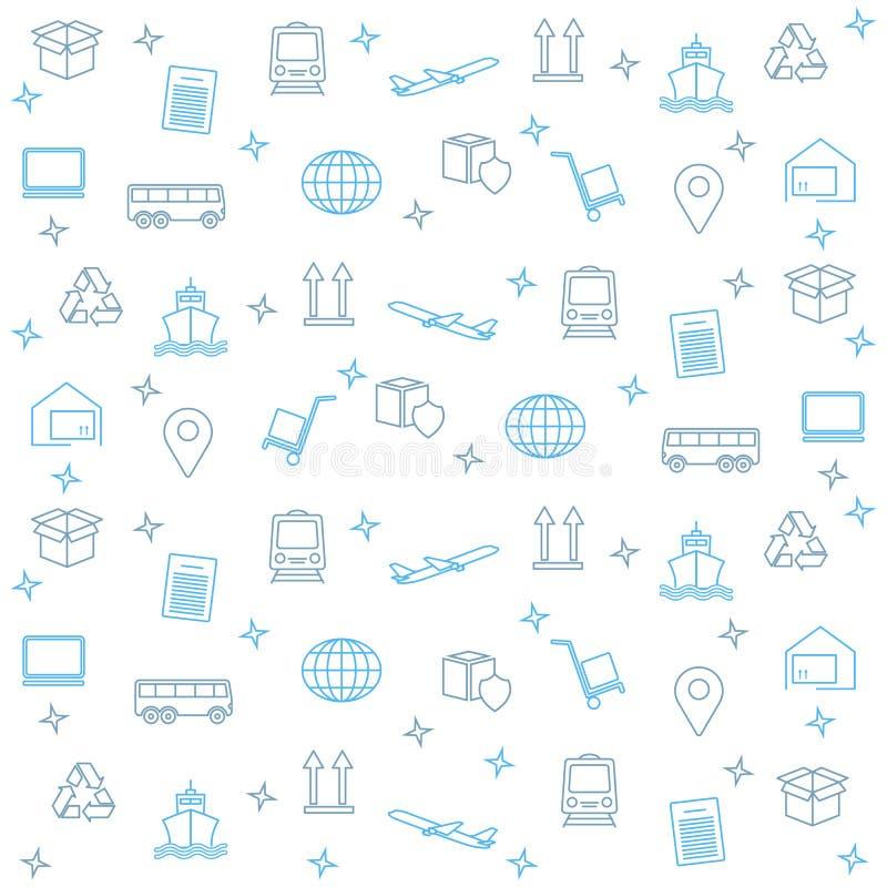 Papier peint logistique d'affaires Mod?le de la livraison et de distribution Modèle global de logistique dans le bleu Illustrat d illustration de vecteur