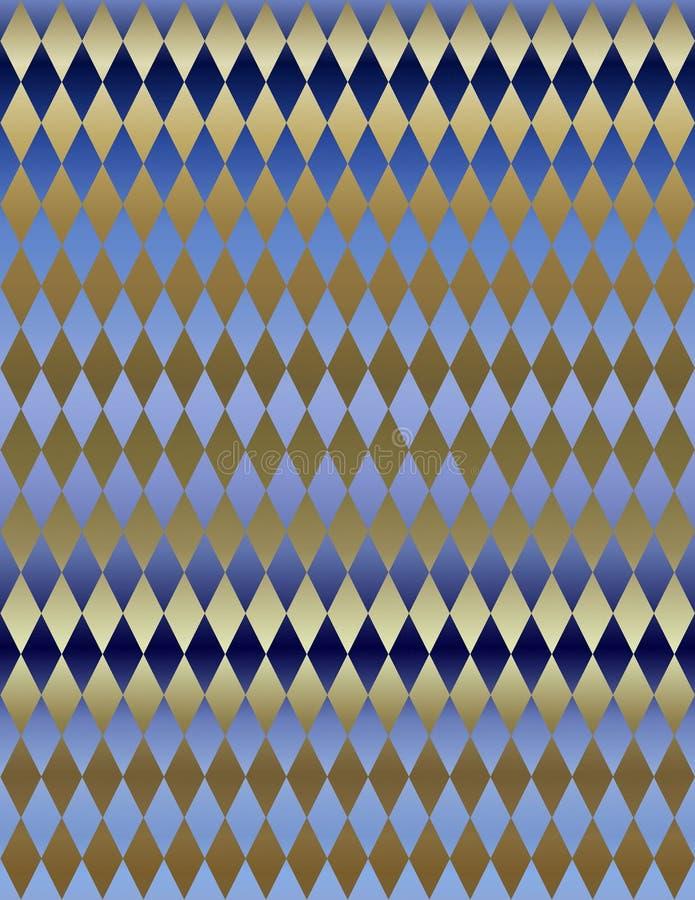 Papier peint métallique bleu de fond de harlequin d'or illustration stock