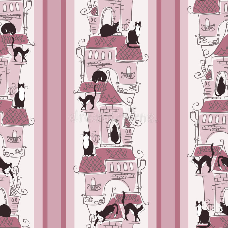 papier peint marche de chat illustration de vecteur image 32952255. Black Bedroom Furniture Sets. Home Design Ideas