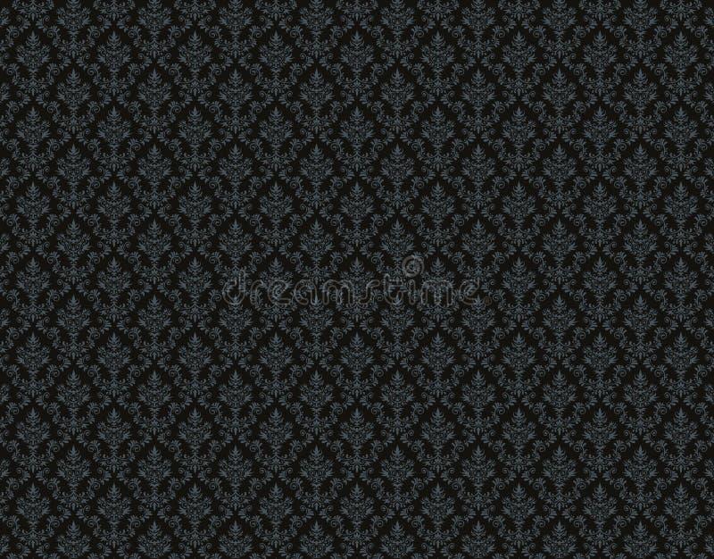 Papier peint noir avec le modèle de damassé illustration stock