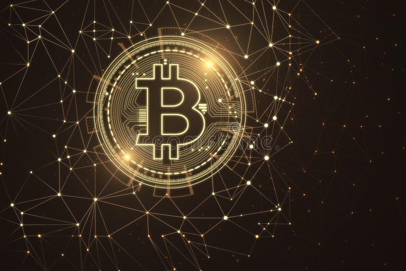 Papier peint polygonal de bitcoin illustration de vecteur