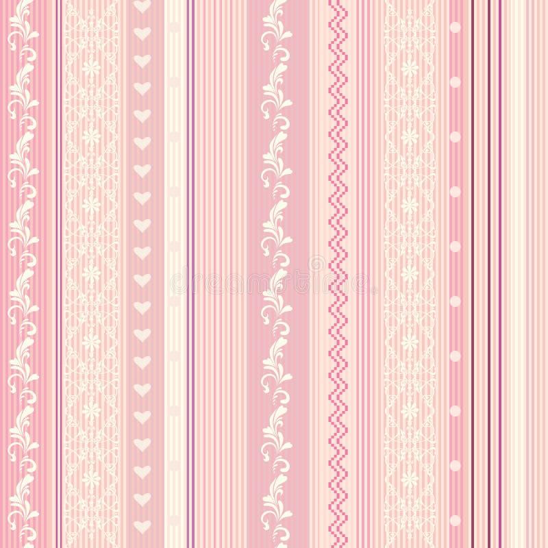 Papier peint rayé rose d'Ornamenral illustration de vecteur