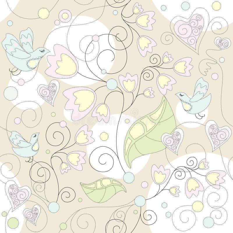 Papier peint romantique floral sans joint illustration libre de droits