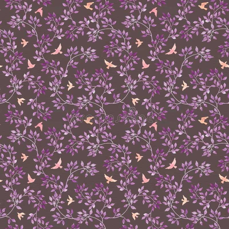 Papier peint romantique sans couture - feuilles et oiseaux bleu-violets peints à la main Art d'aquarelle sur le fond foncé illustration libre de droits