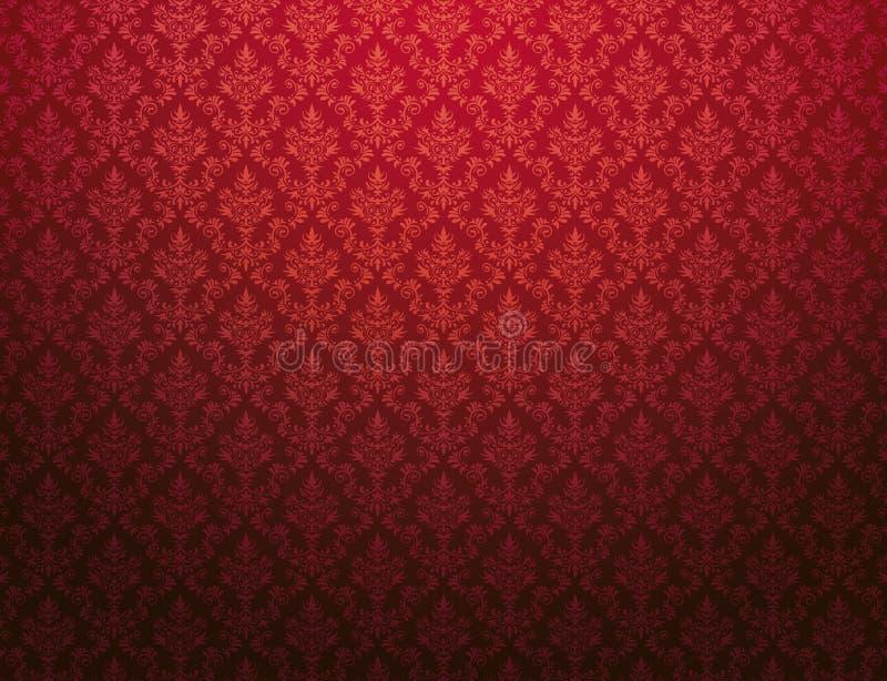 Papier peint rouge avec le modèle de damassé illustration stock