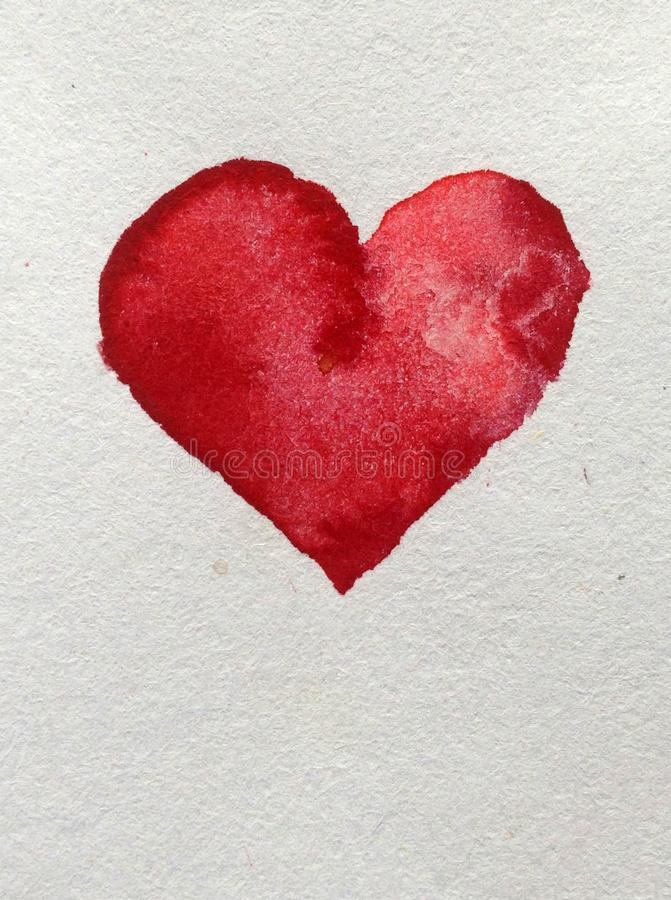 Papier peint rouge fait main brouillé lumineux de coeur d'amour de décoration texturisée de fond d'abrégé sur art d'aquarelle bea photographie stock libre de droits