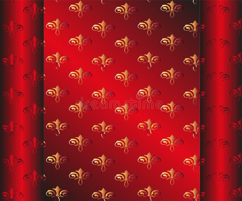 Papier peint rouge foncé sans couture Floral jaune illustration libre de droits