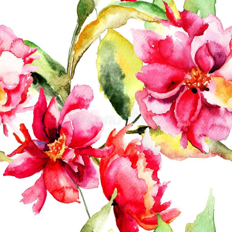 Papier peint sans couture avec la fleur colorée de pivoine illustration de vecteur