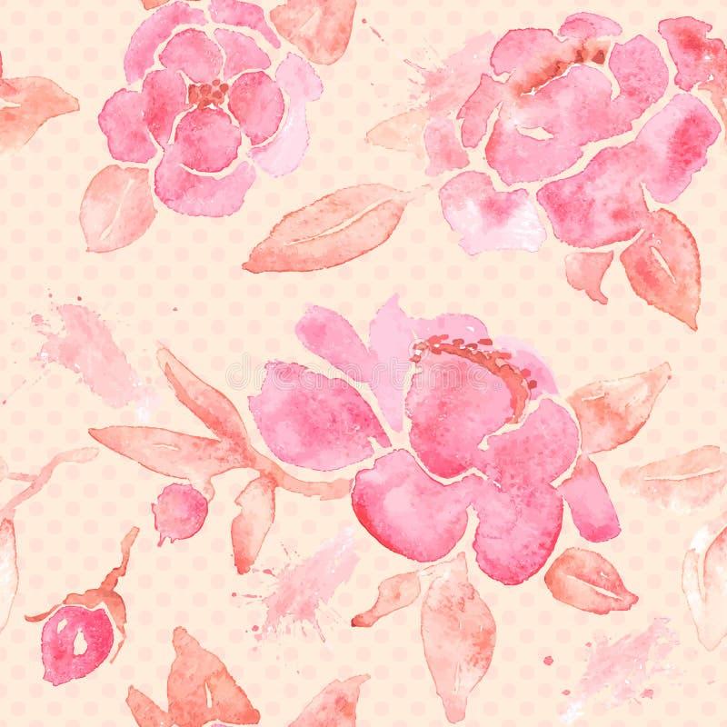 Papier peint sans couture d'aquarelle avec des fleurs de pivoine illustration de vecteur