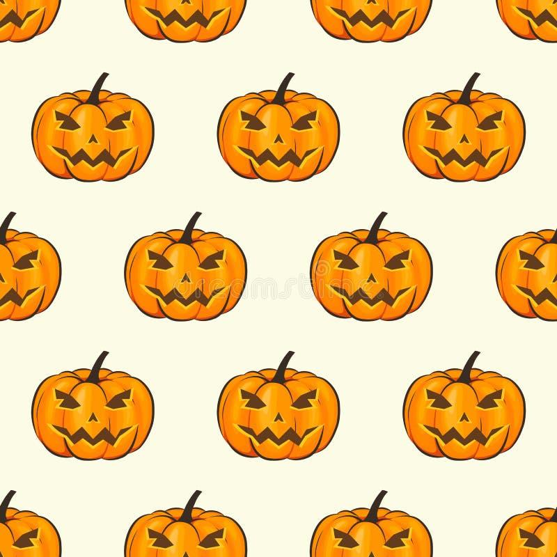 Papier peint sans couture d'enveloppe de modèle de Halloween avec les potirons terribles dans un style de bande dessinée Illustra illustration libre de droits