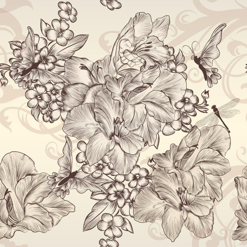 Papier peint sans couture de beau vecteur avec des fleurs dans le styl de vintage illustration libre de droits