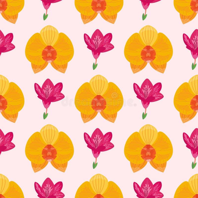 Papier peint sans couture de modèle de fleur tirée par la main avec la décoration d'ornement d'impression et le vecteur floral de illustration libre de droits