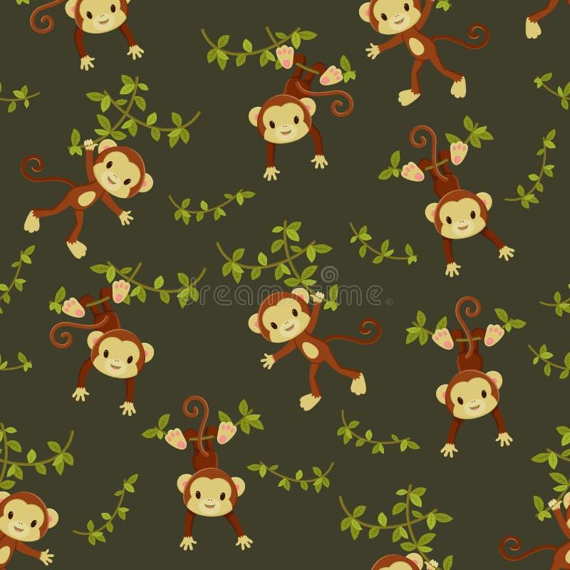 Papier peint sans couture de singes illustration stock