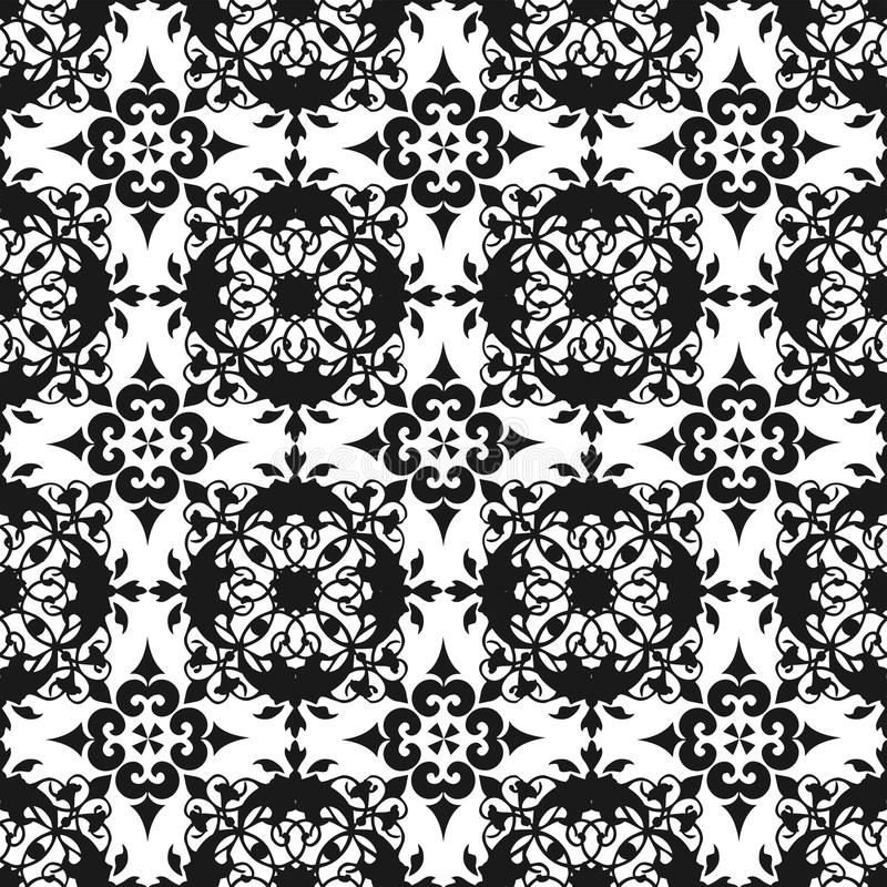 Papier peint sans couture de texture de modèle de bel de vintage abrégé sur royal floral noir oriental ornemental ressort illustration stock