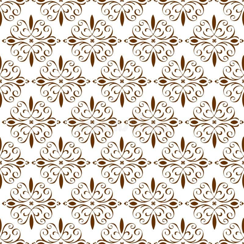 Papier peint sans couture de texture de modèle de Brown de bel de vintage abrégé sur royal floral oriental ornemental ressort illustration de vecteur