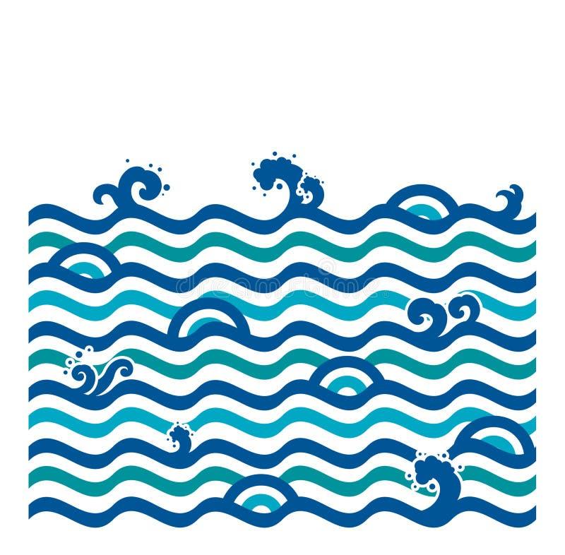 Papier peint sans couture de vague d'eau Style moderne illustration stock