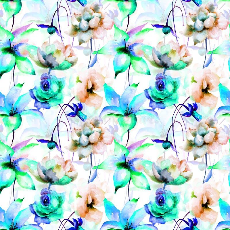 Papier peint sans couture floral illustration de vecteur
