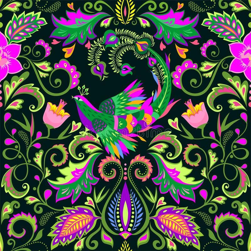 Papier peint sans couture floral de beau cru avec les fleurs exotiques et l'oiseau magique illustration libre de droits