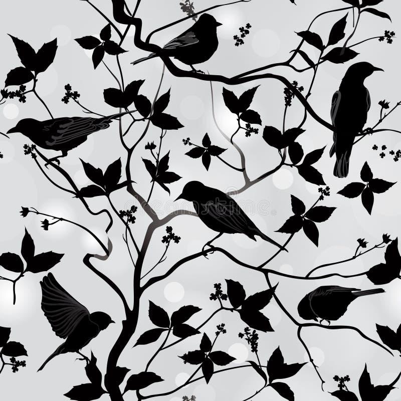 Papier peint sans couture floral de ressort avec des oiseaux sur des branches illustration libre de droits