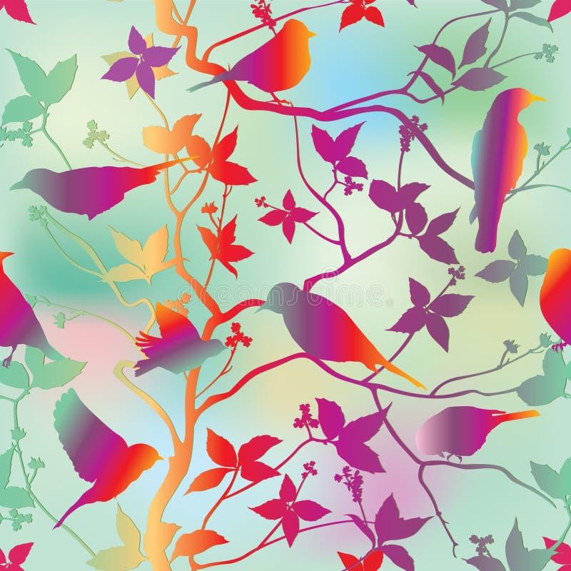 Papier peint sans couture floral de ressort avec des oiseaux sur des branches au-dessus de ciel bleu illustration libre de droits