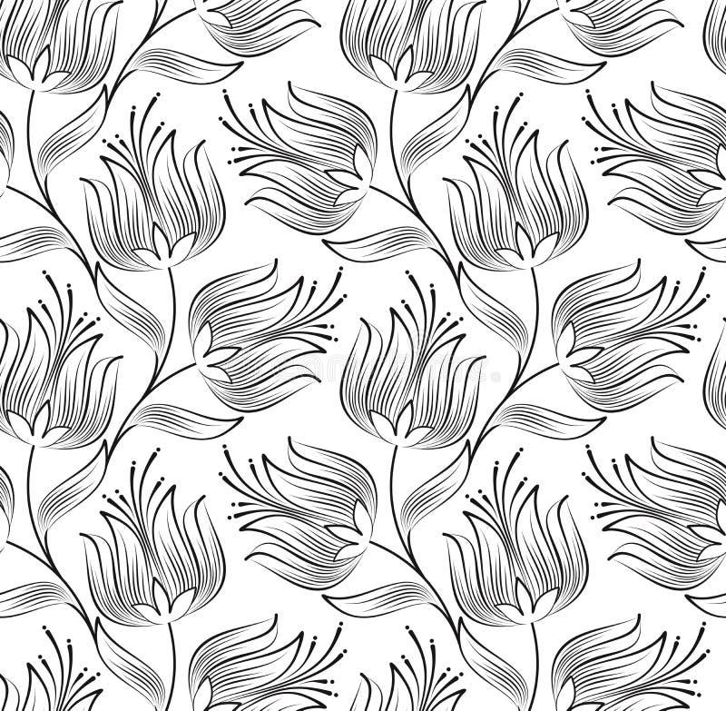 Papier peint sans joint de fleur de lotus créatrice illustration de vecteur