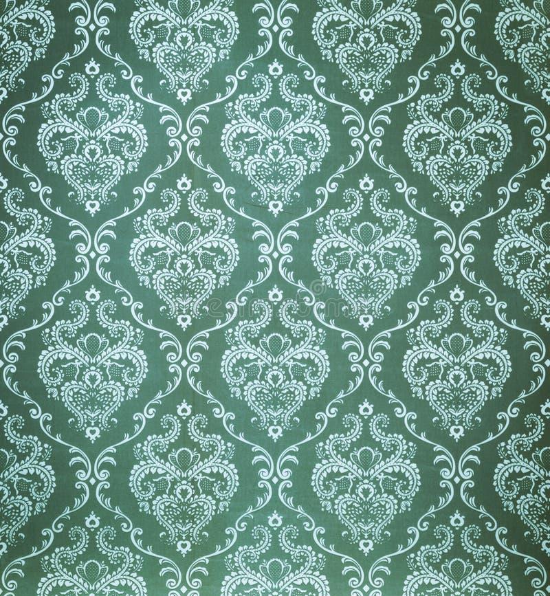 Papier peint sans joint de vert de damassé photographie stock libre de droits