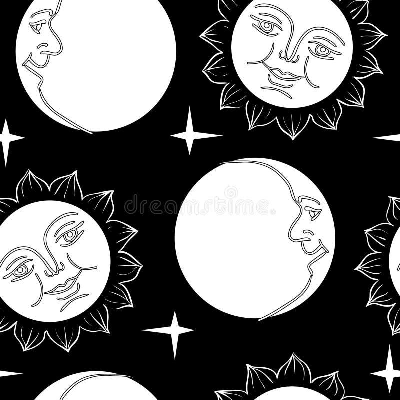 Papier peint sans joint la lune et le Sun avec des visages illustration libre de droits